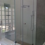 Frameless shower Enclosure with Opti White Cladding