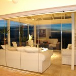 Cleaview frameless folding stacking doors viewed fom  the outside